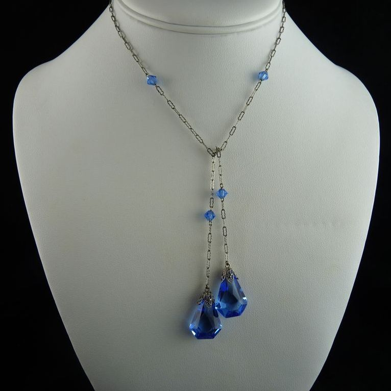 art deco lariat necklace with faceted blue glass drops cwwtnkf