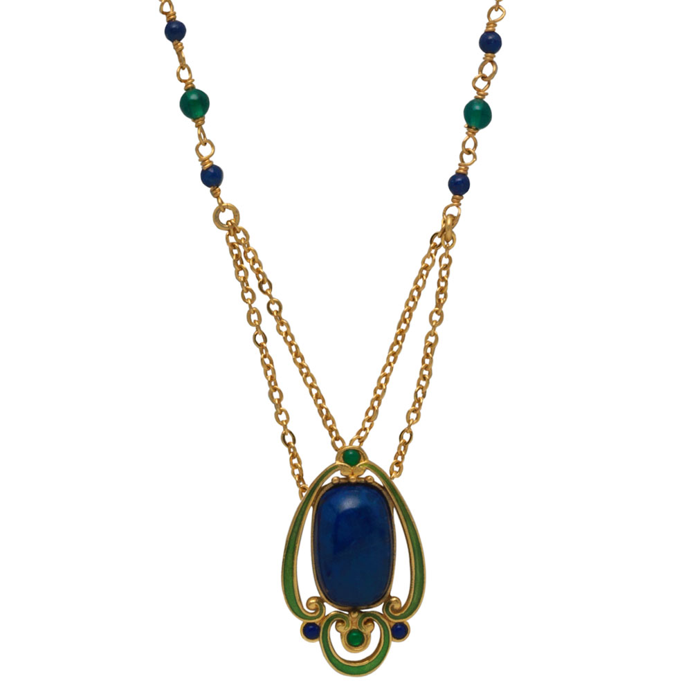 arts and crafts lapis pendant necklace - the met store nflnmgi