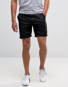 asos slim chino shorts in black winratj