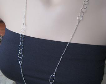 asymmetrical long silver necklace by irisjewelrydesign, fall fashion jwcglhi