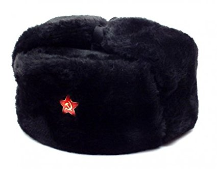 authentic russian military black ushanka hat red star hammer and sickle  size small celzvzk