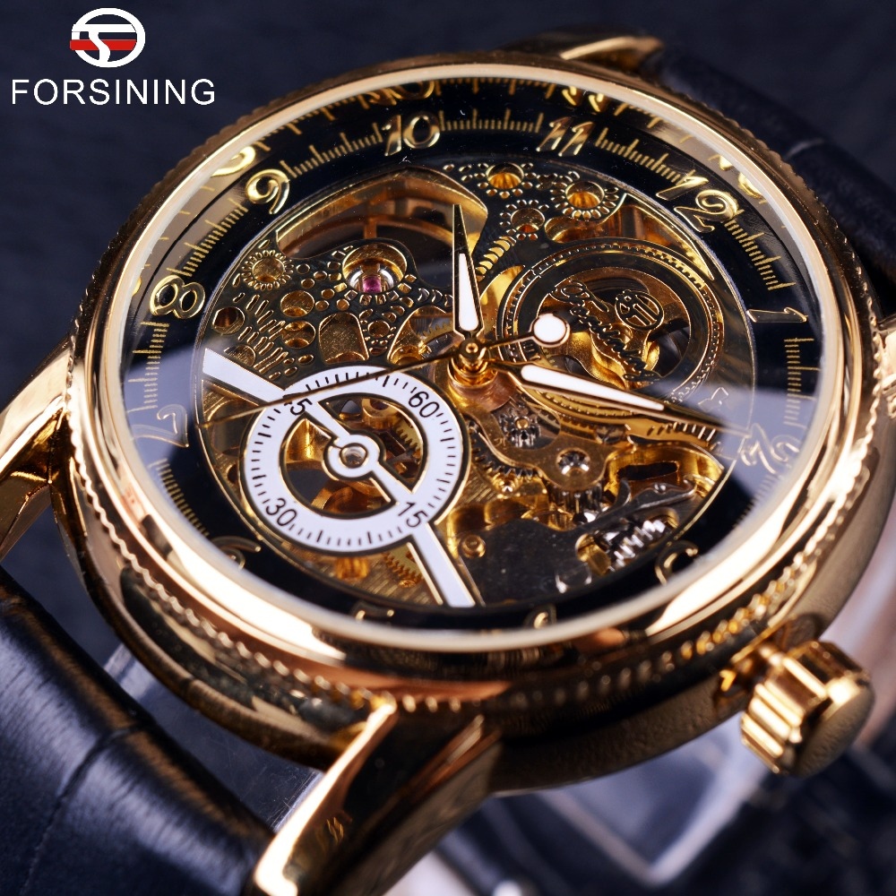 automatic watch 2016 forsining hollow engraving skeleton casual designer black golden case  gear bezel watches men LJFAVLP