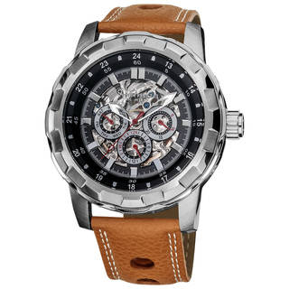 automatic watch akribos xxiv menu0027s water-resistant automatic brown leather strap watch JVQPVAH