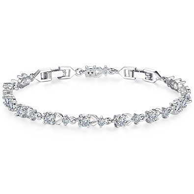bamoer white gold bracelets with sparkling clear cubic zirconia cz crystal  women girls charms xeccdod