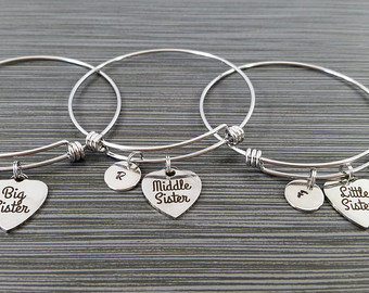 bangle charm bracelet big sister middle sister little sister bracelet - sister bangle bracelet -  expandable charm VSFDRYX