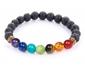 beaded bracelets 7 chakra healing bracelet with volcanic lava, mala bracelet meditation  bracelet - protection, energy DZDVLFT
