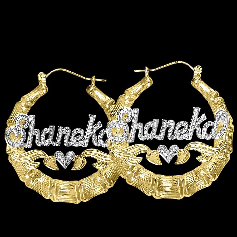 beaded round bamboo name earrings oysosdt