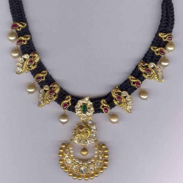 beads jewellery designs jewellery designs: 35 grams peacock black beads set UQNXCJH