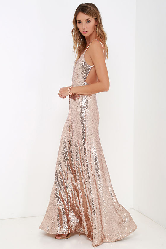 beautiful gold maxi dress - sequin maxi dress - backless dress - $84.00 fnvzces