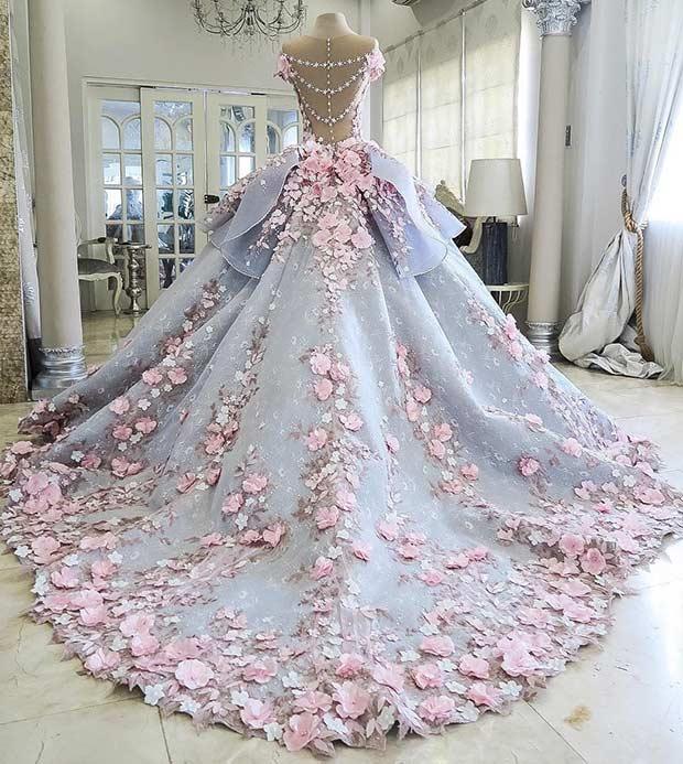 beautiful wedding dresses blue and pink princess wedding dress hduoteb