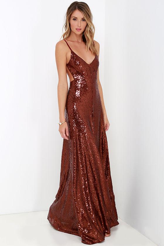beautiful wine red maxi dress - sequin maxi dress - backless dress - $84.00 wlbjwky