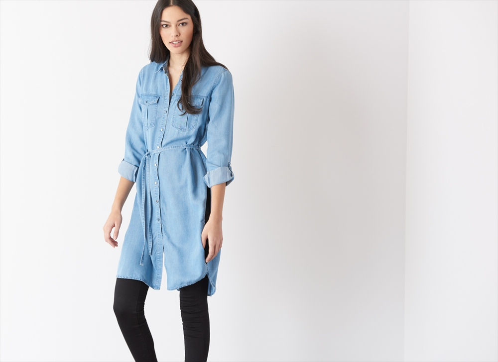 belted maxi denim tunic eefivbx