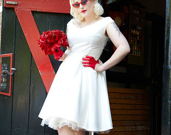 bespoke bridal satin 50u0027s rock and roll rockabilly wedding dress vtunnsc