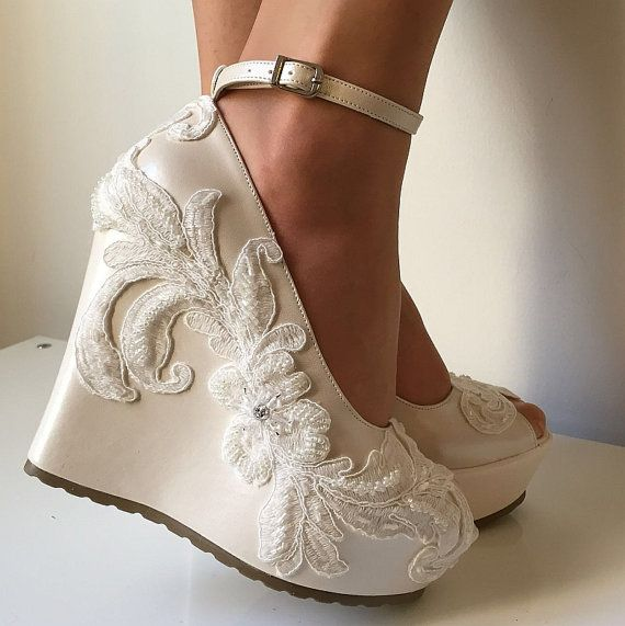 best 25+ wedge wedding shoes ideas only on pinterest | bridal wedges, bridesmaid  shoes qadrgeq