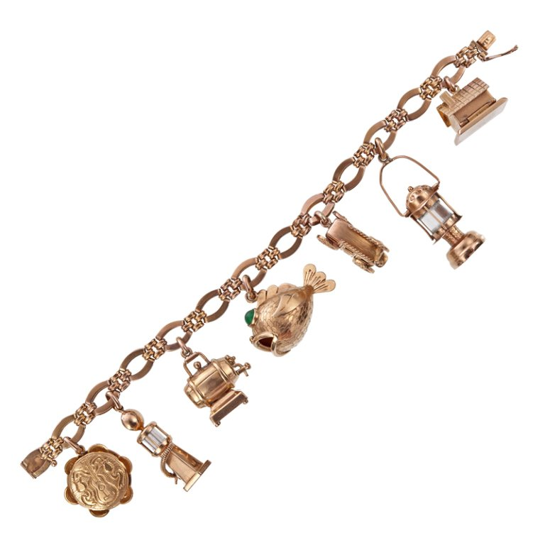 big charm 1940u0027s rose gold charm bracelet 3 qcohatm