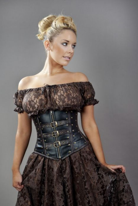 biker underbust corset with studs in black and brown matte psehsxc