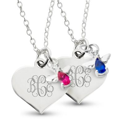 birthstone necklace girls sterling silver angel birthstone necklaces BPWDNBS