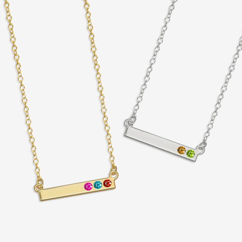 birthstone necklace personalized birthstone bar necklace JNAZLEE