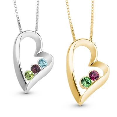 birthstone necklace sterling silver heart birthstone necklaces ... SEGKNEM