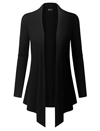 black cardigan because i love you womenu0027s open front drape hem lightweight cardigan -  small - ulyubjw