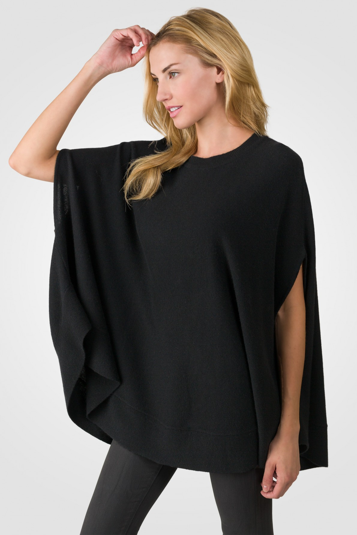 black cashmere oversized laid-back poncho sweater left side view fkphmvg