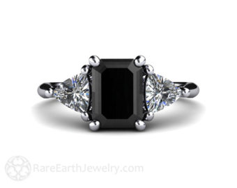 black diamond engagement ring vintage black diamond ring 3 stone with  trillion diamonds in RASFWHC