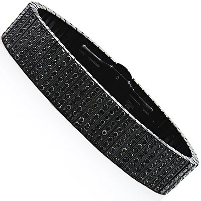 black diamond jewelry for men: 7 row black stainless steel bracelet 26.40ct dwmtlur