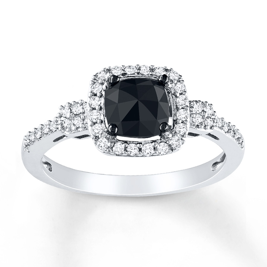 black diamond ring 1 ct tw cushion-cut 14k white gold RZADAPV
