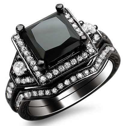 black diamond ring 2.0ct black princess cut diamond engagement ring bridal set 14k black gold PHDBQSB
