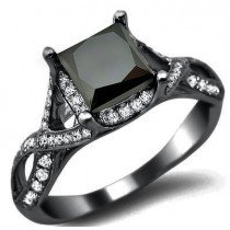 black diamond ring 2.40ct black princess cut diamond engagement ring 18k black gold TIPKJTR