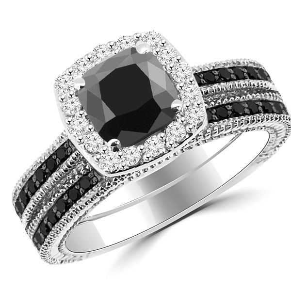 black diamond ring cushion cut matching black diamond halo engagement ring set WKRCNPK