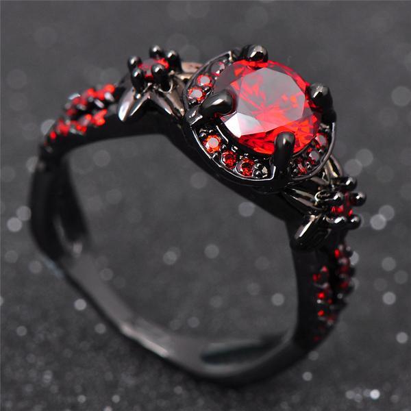 black gold filled fire ruby ring - ess6 fashion qxoirdh