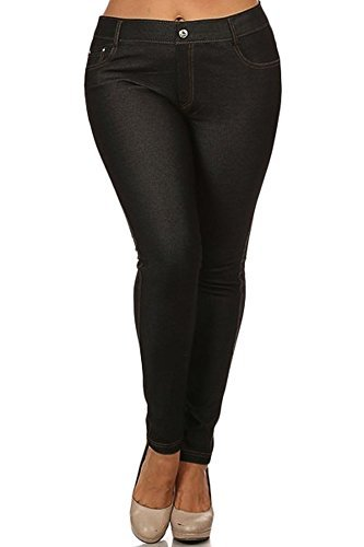 black jeggings yelete womens basic five pocket stretch jegging tights pants, black, large yxliwdm