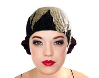 black knit flapper hat cloche hat gold leaf 1920s great gatsby winter  autumn downtown vaxcrwl