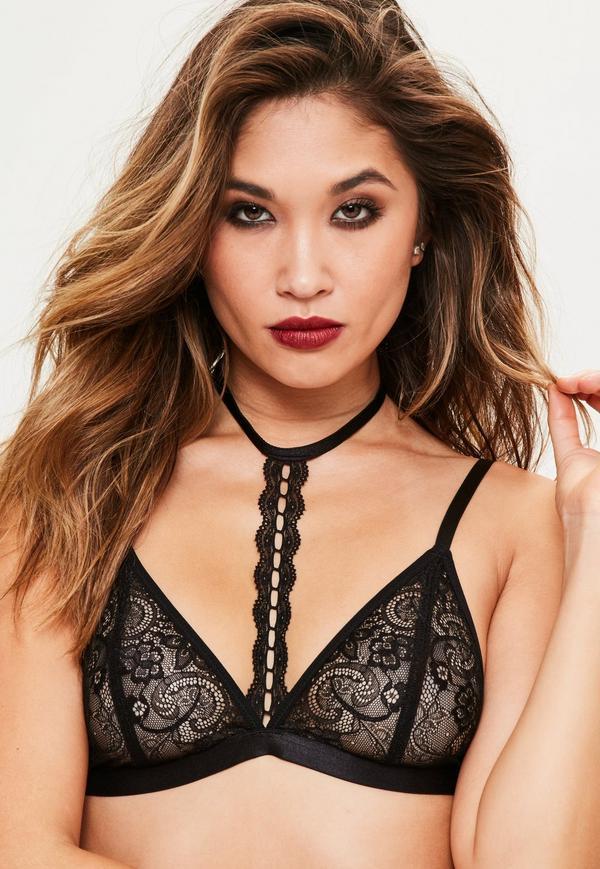 black lace halter neck bra ceepwal