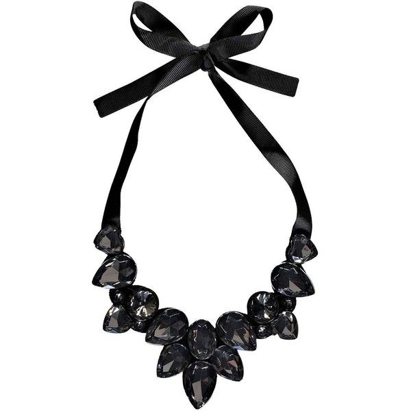 black necklace boohoo kia ribbon tie statement necklace ($8) ❤ liked on polyvore featuring  jewelry, WKPOMHB