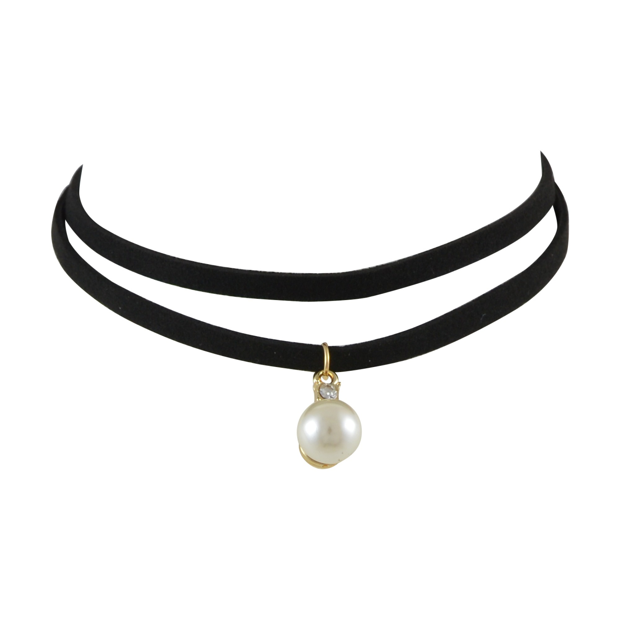 black necklace doublelayer peal charm gothic choker necklace for women - black HLZYNIE