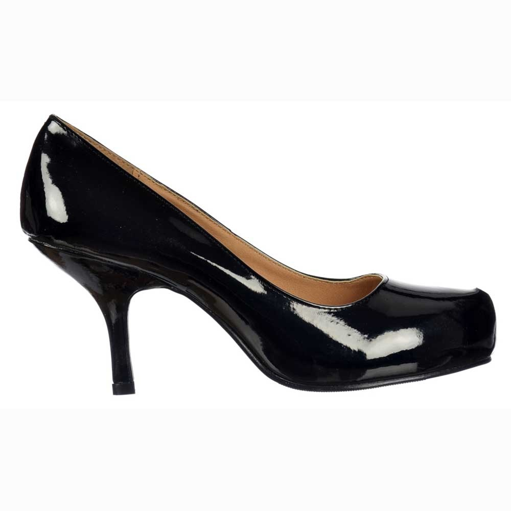 black patent shoes low kitten heel - court shoes - black patent txydgld
