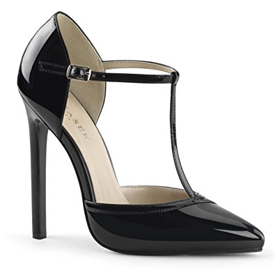 black patent shoes womens black patent pumps shoes with 5 inch single sole heels and t-strap  size ykdcbem