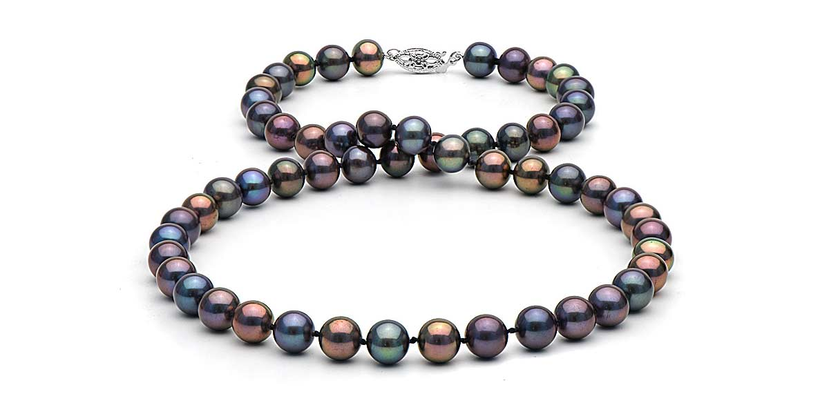 black pearl necklace black freshwater pearl necklace: 7.5-8.0mm ZSMBBQG