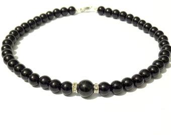 black pearl necklace, black necklace, black bead necklace, beaded necklace,bridesmaid  necklace TMSNVLF