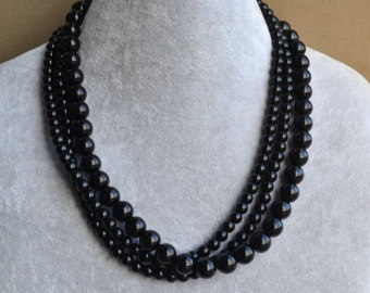black pearl necklace,glass pearl necklace, triple strangs pearl necklace,wedding  necklace, SDGDVIH