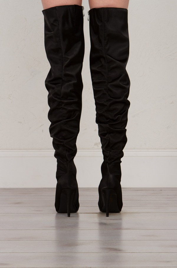 black thigh high boots back view satin thigh high boots in black ... hjtoezi