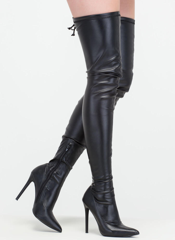 black thigh high boots crush hard faux leather thigh-high boots black ... eqfsfea