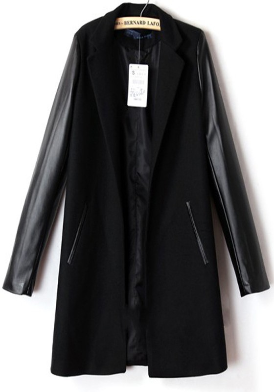 black wool coat black patchwork pu leather notch lapel wool coat azbsfhz