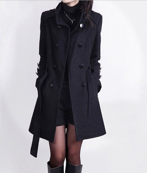 black wool coat womenu0027s cashmere coat double breasted fitted wool coat jacket black long  coat s-xxl on zwextrg