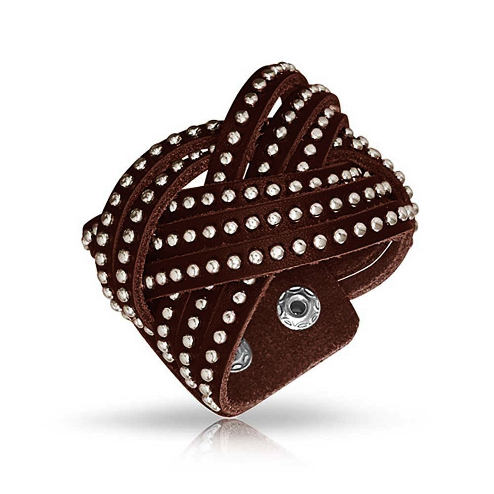bling jewelry beaded stainless steel studded brown leather cuff bracelet 7in fyzgvvo