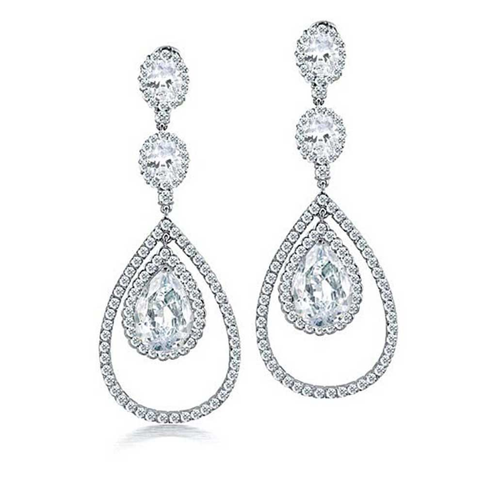 bling jewelry fancy cz triple teardrop chandelier earrings usinvcz