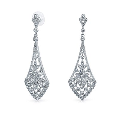 bling jewelry leaves crystal bridal chandelier earrings rhodium plated bzpqngn