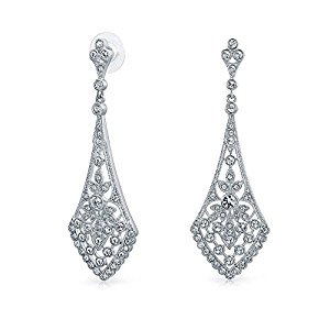 bling jewelry leaves crystal bridal chandelier earrings rhodium plated dwjnnjh